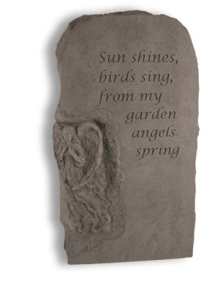 Cast Stone Angel Obelisk with Sun shines, birds sing, from my garden angels spring