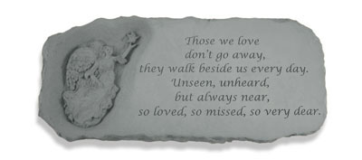 Angel Cast Memorial Stone Bench with Those we love...