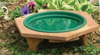 Mini Garden Bird Bath Green