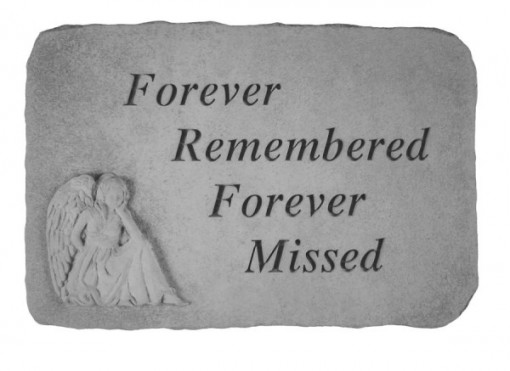 Cast Memorial Stone with Forever Remembered...with sitting angel