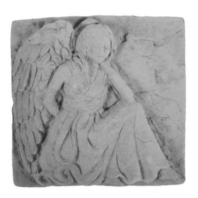 Memorial Stone with Sitting Angel Plaque
