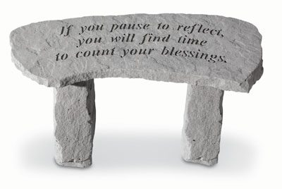 If You Pause To Reflect...Small Cast Stone Bench