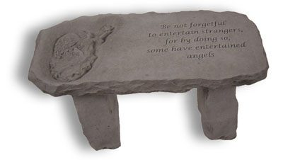 "Angel Cast Memorial Stone Bench with ""Be not forgetful to entertain strangers, for by doing so, some have entertained angels"""