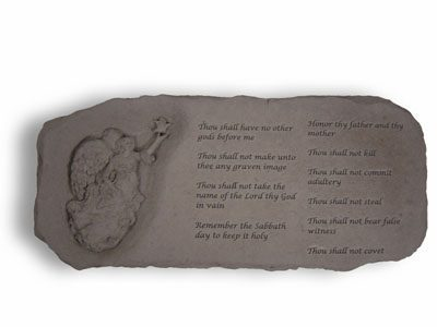 Angel Cast Memorial Stone Bench with The Ten Commandments