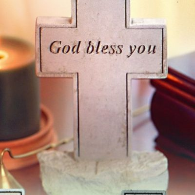 Inspirational Great Thought Cast Stone - Cross with God bless you